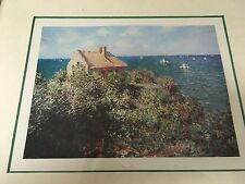 Vintage15x18Lithograph,The Guild NY,CottageSea/covered with shrubs/sail boats