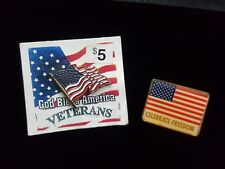 Vintage Lot of Two (2) American Flag Enamel Brass Pins Veterans Freedom Pin