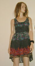 ANIMAL..Voile Designer Dress / Tea Dress / Party... Black & Floral  uk 12 BNWOT
