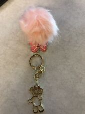 Hong Kong Disneyland Butterfly Pink Pom Pom Keychain
