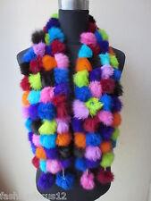 free shipping /real rabbit fur handmade 108balls scarf multicolor