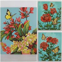 Floral Butterflies Paint By Number PBN Art Painting 8 x 10 Set of 3 Unframed