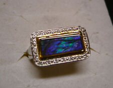 Ammolite and White Topaz Ring Sz.7  21 gemstones 1.82tcw MSRP$693.00