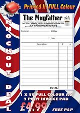 PERSONALISED INVOICE  BOOK PAD DUPLICATE A6 RECEIPT PRINT NCR