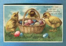 A4757  Postcard  Squeeker  Chicks Around Basket Filled With Easter Eggs