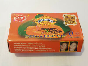 Asantee Papaya And Honey Soap With Q10,AHA Skin Whitening 125g