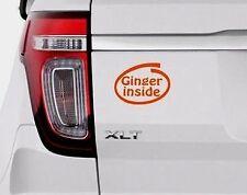 'GINGER INSIDE' Orange Funny/Joke Car/Van/Bike/Bumper/Window Vinyl Decal/Sticker
