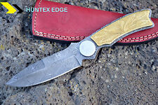 "HUNTEX Handmade Damascus 9.5"" Long Brass Engraved Hunting Skinning Knife"