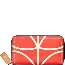 New Etc by Orla Kiely big zip wallet in giant linear stem vermillion Red White