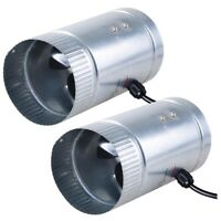"""2 Pack 4"""" Inch Inline Duct Booster Cooling Fan Exhaust Blower Aluminum Blade US"""