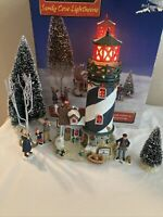 2002 Lemax Village Lighthouse Sandy Cove Flashes Red Beacon, In Original Box