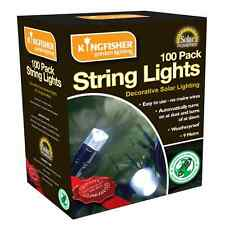 100 LED STRING LIGHTS SOLAR POWERED WHITE 10m OUTSIDE GARDEN FAIRY EFFECT SLSL3