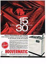 PUBLICITE ADVERTISING  1963   HOOVERMATIC  la ve linge machine  à laver