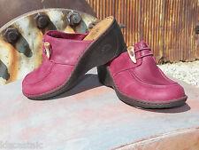 New Womens UGG Valle Burgundy Leather Clog Mule Slide Shoes Sz US 7 UK 5.5 EU 38