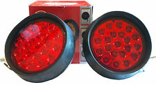 (2) 21 LED RED Round Rubber Work Lamps For ATV TRUCK RV Utility