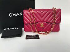 Auth CHANEL Chevron Magenta Pink Medium Double Flap Bag 22k Gold Hardware *RARE*