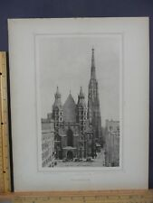 Rare Antique Original VTG Stefanskirche Church Vienna Austria Engraved Art Print