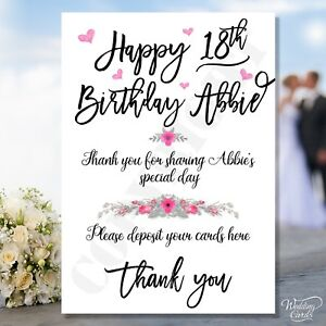 Birthday Post Box Card Postbox Sign Party Naming Baptism Christening Wedding A4