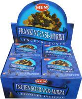 Genuine Hem Frankincense Myrrh Incense Cones 12 Pack of 10 Cone= 120 Cones Total