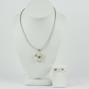 Mexico 14k Yellow Gold, MOP and Blue Topaz Flower Necklace and Earring Set