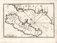 Carte Géographique XVIIIe Corfou Corcyre Grèce Κέρκυραù Korfu Corfù Керкіра 1764