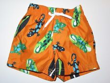 Gymboree Swimwear Boys 3-6 mo Swim Shop Trunks Lizard Surf Boards Shorts Orange
