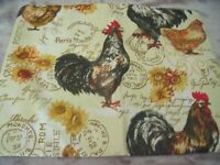 "NEW Country ROOSTER TABLECLOTH 52"" X 70"" Oblong SUNFLOWERS Fall Decor Chickens"