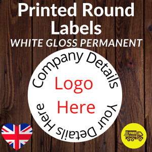 LOGO Printed Round Stickers Custom Logo labels postage labels Personalised Gloss