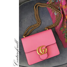 NEW $1,750 GUCCI Pink Leather MARMONT GOLD GG Chain Shoulder SMALL FLAP BAG AUTH