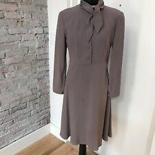 Giorgio Armani Women's Dress Gray Long Sleeve Bow Collar Side zip 40 6