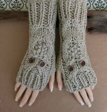 Fingerless Gloves, Ladies Fashion Owl Arm Warmers, Womens Chunky Knitted