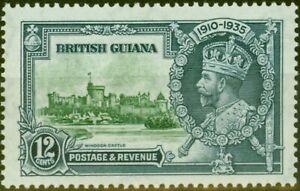British Guiana 1935 12c Green & Indigo SG303f Diag Line by Turret V.F Mtd Mint