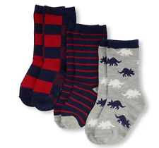 Toddler Boys Dino Print Stripes and Plaid Socks 3 Pack size 6-12 M