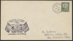 1933 London Ont to Buffalo Flight, AAMC #3307, #161 2c Coil, #125 1c Coil Strip