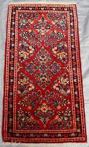 LOVELY ANTIQUE SAROUK FLORAL HAND KNOTTED WOOL ORIENTAL RUG CLEANED 1.8 x 3