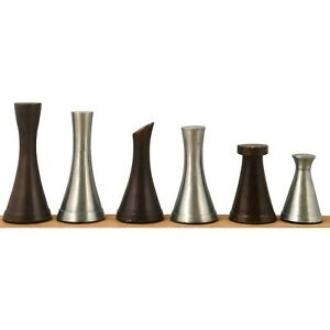 """3.1"""" Tower Series Brass Metal Luxury Chess Pieces Only Set - Silver & Antique"""