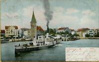 2268: Ansichtskarte Postkarte Lindau im Bodensee Hafen 1904