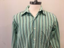 Lacoste Dress Shirt Mens 42 Green Striped Long Sleeve Large Button Front Cotton