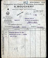 """PARIS (X°) CABLES & MATERIEL ELECTRIQUES """"G. BOUCHERY"""" en 1931"""