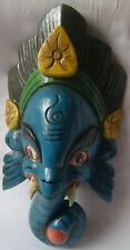 Face mask wooden ganesha head statue hand carved painted home decor figurine