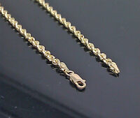 """Solid 10K Yellow Gold Rope Chain Diamond Cut 16""""18"""" 20"""" 22"""" 24"""" 26"""" 28"""" 30"""""""