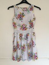 Primark Cream Multicoloured Floral Dress Size UK 8