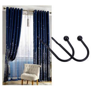 Set Of 2 U Shaped Hook Wall Mounted Tassel Curtain Tieback Hook Drapery Tiebacks
