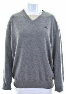 KAPPA Womens V-Neck Jumper Sweater UK 16 Large Grey Wool Loose Fit FP16