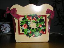 Gail Sanborn Holiday Wooden Flower Pot Planter Plant Holder Wreath & ribbon bows