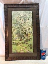 Vtg Wood Frame A. Fox 1911 Lithograph Print Sheep Farm Country Green Flower Tree