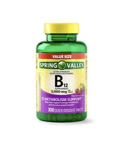 Spring Valley B12 5000mcg 300pc Quick Dissolve Tablets Ultra Strength Value Size