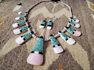 Vintage Santo Domingo Pueblo Kewa Shell Overlay Set ~ Necklace & Earrings
