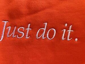 Nike Loose Fit Sweater Just Do It Orange Embroidered Swoosh Center Travis Scott