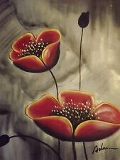 Red Abstract Fleurs Grande Peinture à l'Huile Toile Moderne Floral Contemporain Coquelicots